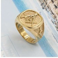 الفولاذ المقاوم للصدأ خالية ميسون الماسونية خاتم الذهب الهيب هوب كول الدائري الرجال خواتم ذهبية الشرير الصخرة مجوهرات anillos بار نادي الماسوني