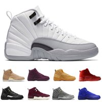12 12s mens basketball shoes Wheat Dark Grey Bordeaux Flu Ga...