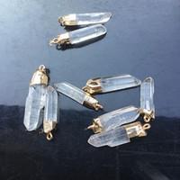 Pendentif en cristal naturel blanc clair pilier de quartz original pierre six prismatique pendule de guérison bricolage bijoux unique point pendentif