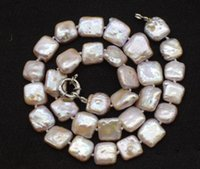 freshwater pearl pink purple 12-13mm square necklace nature beads wholesale 17inch