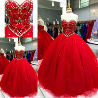Modest Red Ball Gown Vestidos de quinceañera Apliques Con cuentas Crystal Tul Lace Up Prom Vestidos Sweet Sixteen Dresses