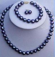 "black TAHITIAN 9-10 mm SOUTH SEA Pearl necklace bracelet earring set 18"" + 7.5"""