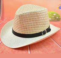 Katı Hasır Şapka deri Kemer ile Tasarımcı Kovboy Panama Şapka Kap Kovboy şapkaları Caz Şapka Kadın Güneş Kap Geniş Ağız Hasır Şapka Örgü Kapaklar