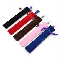 Nieuwe touw vergrendeling geschenk tas fluwelen pen pouch houder enkele potlood tas pen case opbergdozen bakken 15st