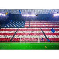 Drapeau américain Drapeau Photographie Sur toile de fond Stade Champ Vert Rubans Coupe du monde de football Football Match Garçon Enfants Photo Fond