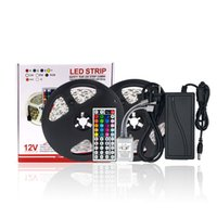 Striscia LED DC12V Set 5 Meter Luce flessibile LED Strip Light Colore RGB, LED Strip 5050 Controller RGB 44Key + Alimentatore 12V