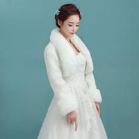 2018 vendita calda avorio colore senza maniche di alta qualità faux fur boleros cappotto da sposa giacca da sposa giacche spedizione gratuita