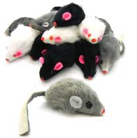 الحرة الشحن حقيقي أرنب فرو الفأر للعب الفأر القط مع 100pcs / lot جودة الصوت عالية