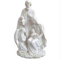 Regalo di Natale Accessori Decorazione Domestica Sacra Famiglia con Angelo Statua Figurine di Gesù Figurine Decorative da 10.8 pollici