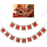 Wholesale 1 PCS Merry Christmas Jute Burlap Linen Banners Ga...