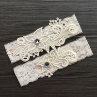 Lace Bridal Garter Belt Set with Blue Rhinestone Beaded Wedd...