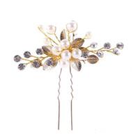 Goldene Blatt-Haarnadelpins, Perlen, Haarschmuck und Brautschmuck