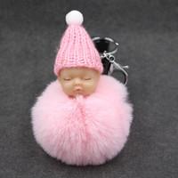 Dormire Baby Doll Portachiavi bambola piede Pompon falso Coniglio Palla Palla Portachiavi Auto Portachiavi Portachiavi Donna BagCharm gioielli