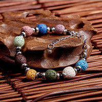 Fashion Multilayers Colorized Lava Stone Beads Bracelet Perf...