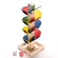 대리석 실행 장난감 나무 블록 몬테소리 대리석 공 실행 트랙 게임 아기 모델 어린이 키즈 지능 교육 장난감