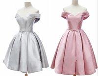 Щепка розовые короткими платьями на домохозяйстве - 2021 с плеча с короткими рукавами линия сатин дешевый выпускной платья