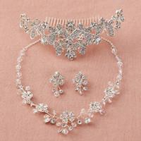 2018 flores de lujo accesorios nupciales collar de diamantes de cristal gota de agua accesorios del pendiente sistemas de la joyería de la boda joyería de moda venta caliente
