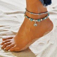 Boêmio Azul Branco Beads Turquesa Tornozeleiras para As Mulheres Étnica Handmade Estrela Do Mar Concha Shell Sandálias Descalças Cadeia Tornozelo Pulseira