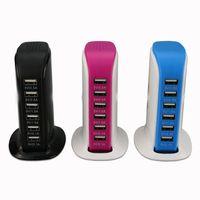 6 USB Portları Çok Şarj Portu Masaüstü Çok Fonksiyonlu Duvar Hızlı Şarj İstasyonu Perakende Kutusu ile AC Güç Adaptörü DHL FEDEX