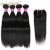 Бразильские волосы девственницы прямые с закрытием 100% пучки человеческих волос с закрытием 3 пучки перуанский пряди волос натуральный черный
