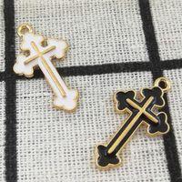 14 * 26 мм крест прелести кулон Diy ювелирные аксессуары для ожерелье браслет делая эмаль прелести в золотой металл