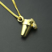 New Men Hip Hop Necklace Yellow Gold Plated Styro Foam Cup P...