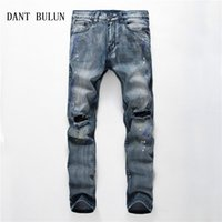 DANT BULUN New Mens Ripped Jeans Blue Distressed Slim Fit Sk...