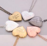 Je t'aime coeur médaillon collier argent rose chaîne en or amour coeur secret message vie mémoire pendentif médaillons femmes mode bijoux 30 pcs
