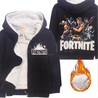 Kids Fortnite Hoodies Thicken Fleece Winter Warm Printed Bat...