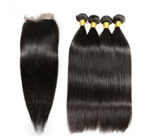 4 Bundles With Closure Remy Human Hair Straight With Lace Cl...