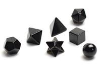 Doğal Çakra Siyah Akik Oyma Kristal Şifa Platonik Katılar Merkaba Yıldız ile Kutsal Geometri Sembolleri