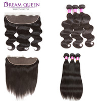 Brazilian Virgin Hair Bundles With Lace Frontal Closure Stra...