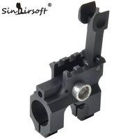 SinnaSoft Tactical Clamp-on gasblock med vikning framsyn CNC Aluminium bearbetat järn för gevärjakt tillbehör svart