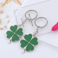 Green Four- leaf Clover Metal Keychain Lucky Clover Lovers Ca...