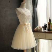 Champagne Vestido De Festa Lace Short Wedding Guest Dresses ...