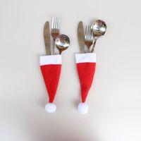 200pcs Natale Decorativo da tavola Coltello Forchetta Set Natale Hat Storage Holder Strumento XMAS Decorazione Party Tableware Dinner Table