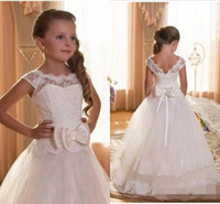 2018 Cheap Flower Girls Dresses for Weddings bow ribbon Scoo...