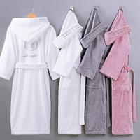 Autunno inverno Accappatoio tinta unita in puro cotone tinta unita accappatoio Unisex a maniche lunghe in spugna assorbente con cappuccio in pijamas
