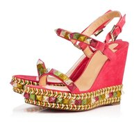 bcc48ea72c1 Modern Studded Women Pyraclou Platform Wedge Sandals Cataclou Ankle Strap  Red Bottom Shoes Lady Gladiator Sandals Wedges Sexy Party Wedding