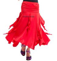 Фокстрот Латинской Flamenco Американский Smooth Бальные танцы юбки костюмы Длинные Ruched Современный латинский стандарт Бальные танцы Наряд Smooth Юбки