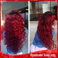 Free Shipping Fashion Long Loose Curly Wine Red Wig Syntheti...