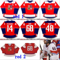 # 68 Jaromir Jarro Czech República WCH Team 2016 Copa do Mundo de Hóquei Jersey 14 Tomas Plekanec 48 Tomas Hertl Hóquei Personalizado Jerseys