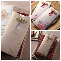 2021 Vente en gros Laser Cut mariage Cartes d'invitation personnalisée de mariage formel fête à imprimer Carte d'invitation avec une carte plastifiée enveloppe