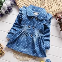 BibiCola moda primavera autunno childern tempo libero coatouterwear neonate punti denim giacca bambini ragazze temperamento jean abiti