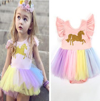 Baby girls unicorn Printed romper cartoon Rainbow horse Dres...