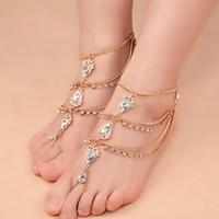 Gioielli europei e americani gioielli gypsy gioielli piede piede nazionale gocce d'acqua gemma catena di piede fatto a mano con borchie