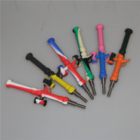 Grand Coloré Mini Silicone Nectar Collector Kits Titane Quartz Nail Pointe En Acier Inoxydable Silicium NC Silicone Hookahs Pipes Livraison Gratuite