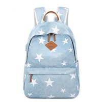 Backpack Style Girl Demin Five Stars Printed Canvas School B...