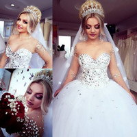 Luxury Crystals Ball Gown Wedding Dresses Sheer Long Sleeve Jewel Neck Tulle Long Bridal Gowns Plus Size