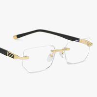 2019 Anti-luz azul Óculos de leitura Presbiopia Óculos Lente de vidro Unisex Óculos sem aro Quadro de óculos Força +1.0 ~ +4.0